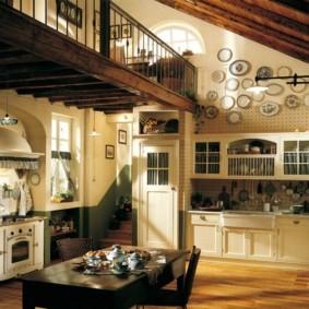 Дизайн кухни в холле частного дома