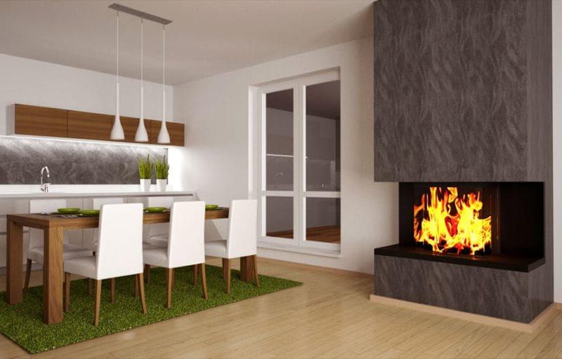 Дизайн кухни-гостиной в квартире в стиле минимализма