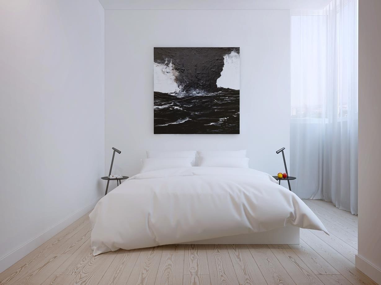 спальня в стиле минимализм с картиной