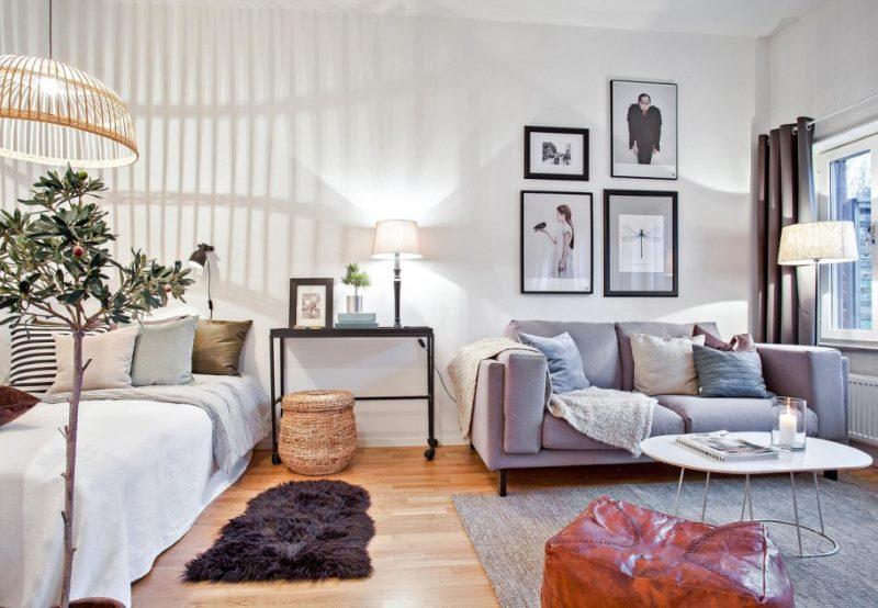 спальня-гостиная 18 кв.м. дизайн