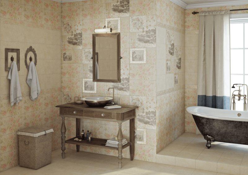 Керамическая отделка стен в ванной загородного дома