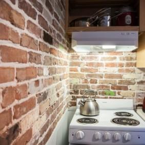 кухня с кирпичной стеной отделка