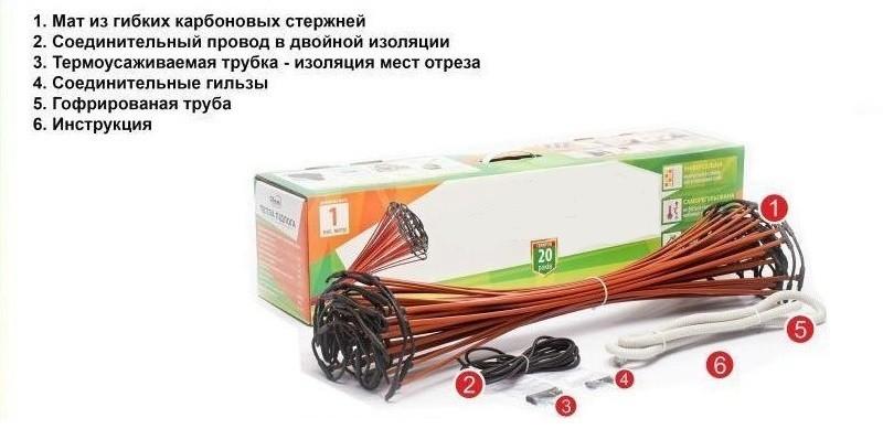 Комплектация электрического теплого пола стержневого типа