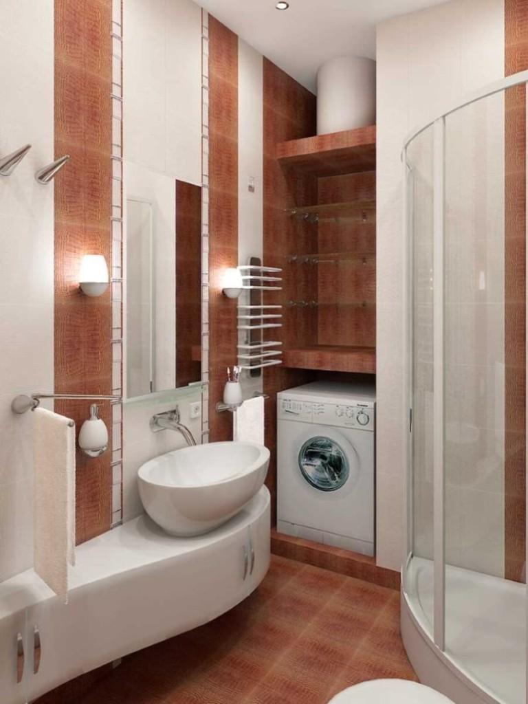 Коричневая плитка на полу ванной комнаты 2 кв м