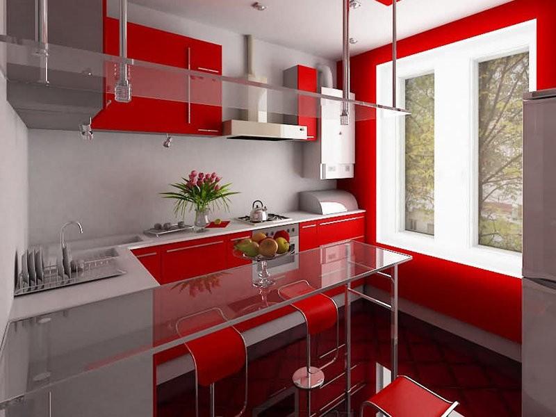 Красный гарнитур и стеклянная столешница