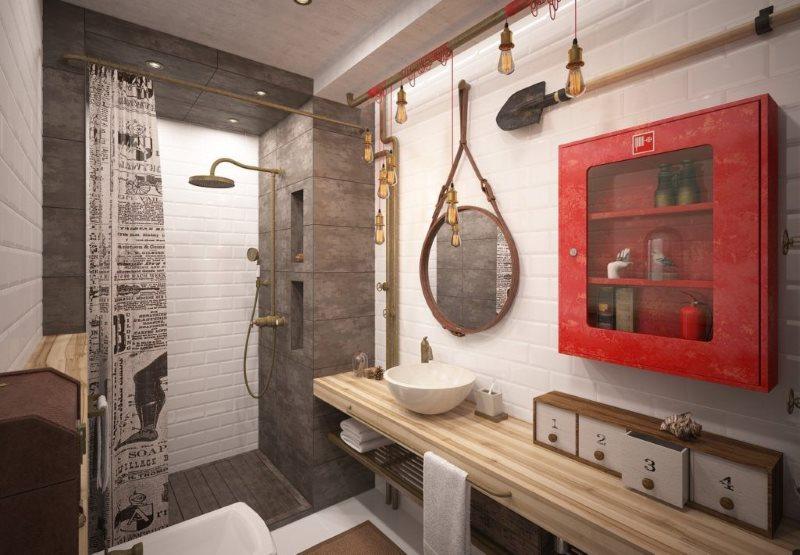 Красный шкаф на стене санузла в индустриальном стиле