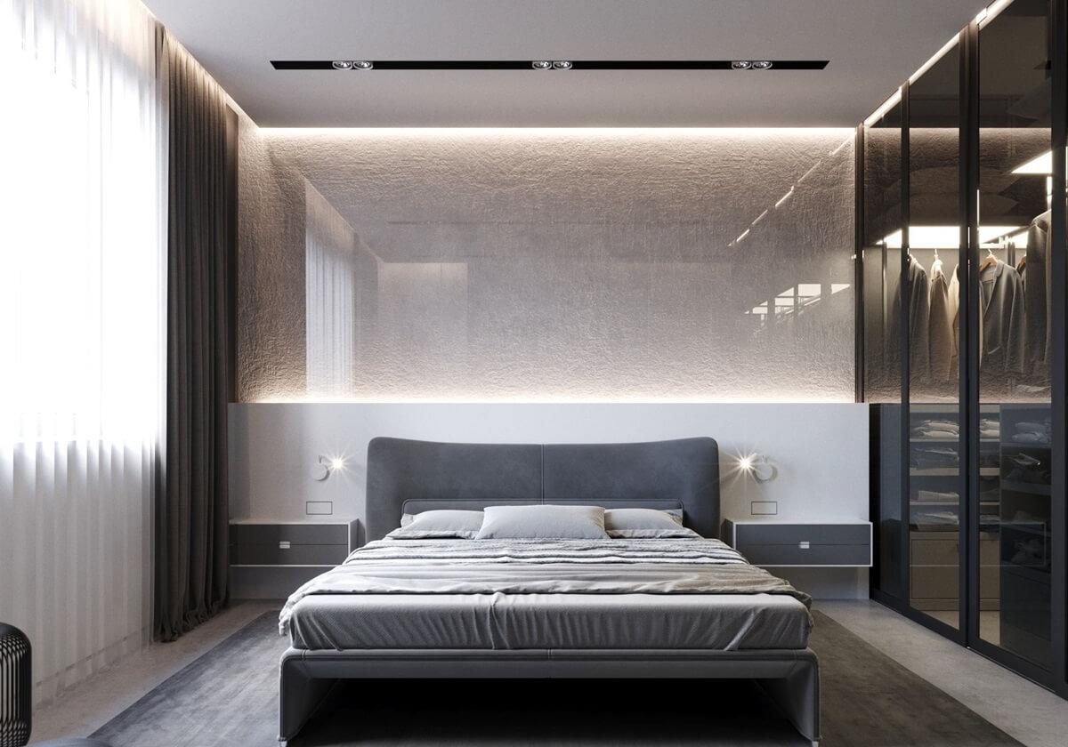 спальня в стиле хай тек с тюлем