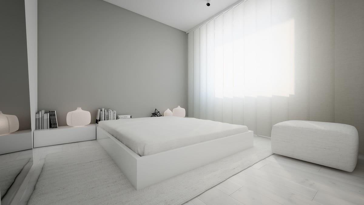 белая спальня в стиле минимализм