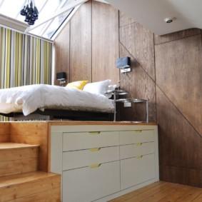 спальня-гостиная 18 кв.м. с подиумом