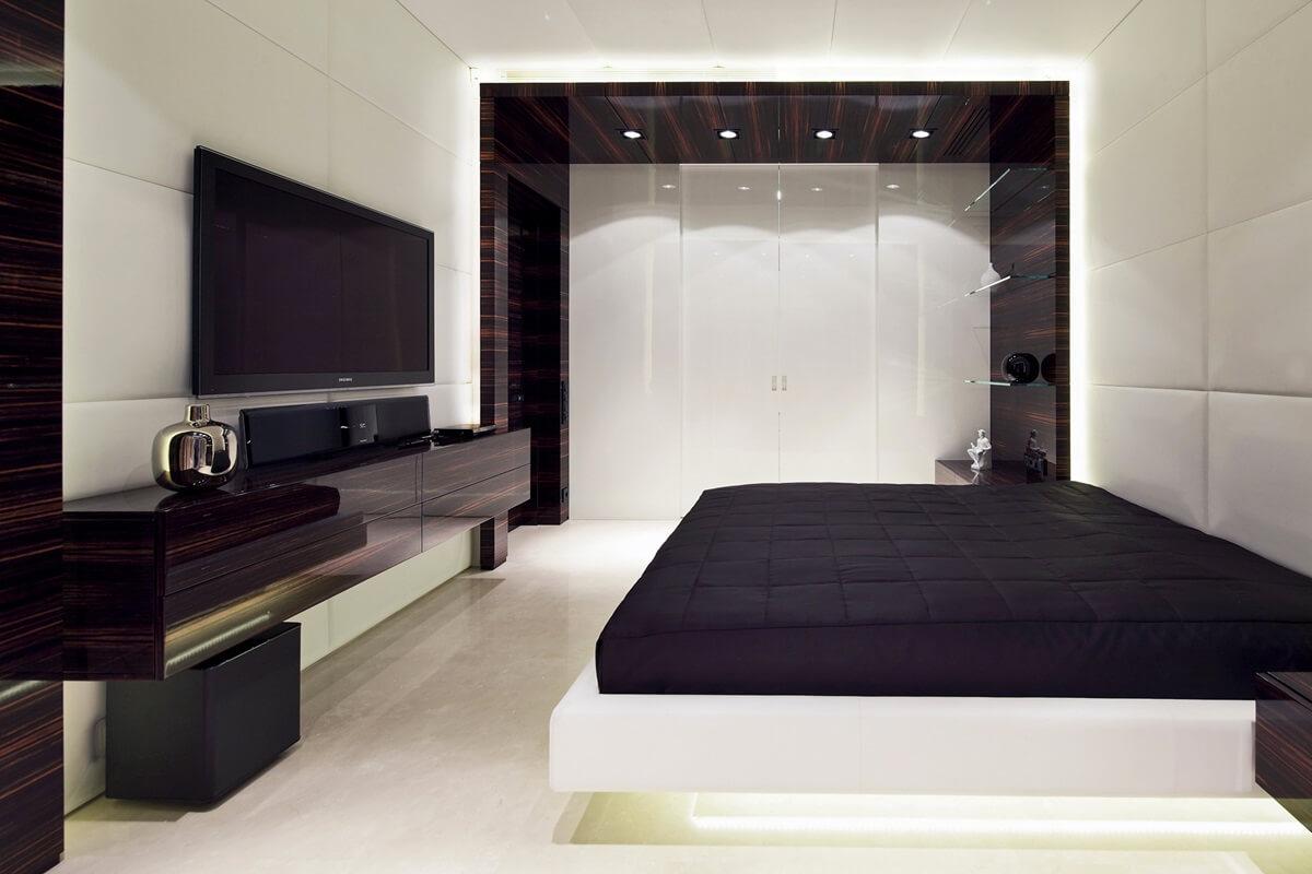 спальня в стиле хай тек кровать