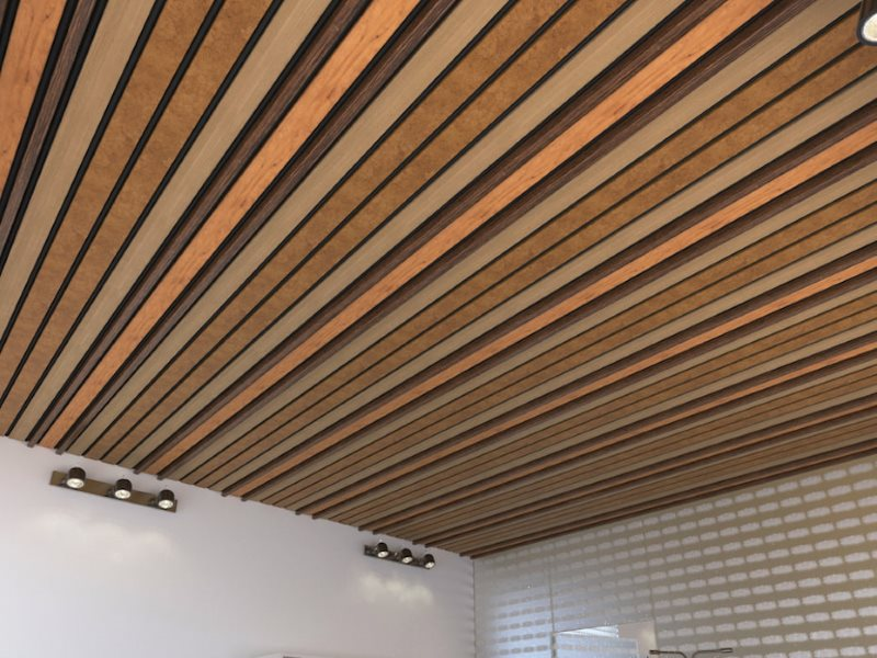 Подвесной потолок в ванной с рейками квадратной формы