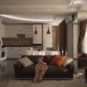 Интерьер кухни-гостиной в пастельных тонах