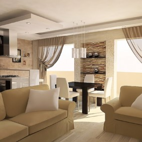 Дизайн кухни-гостиной с двумя диванами