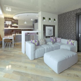 Белый диван с обивкой из эко-кожи