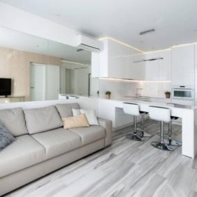 Интерьер кухни-гостиной в стиле минимализма