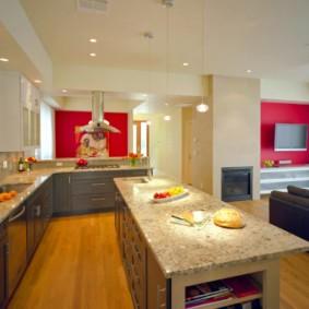 Красный цвет в интерьере кухни-гостиной