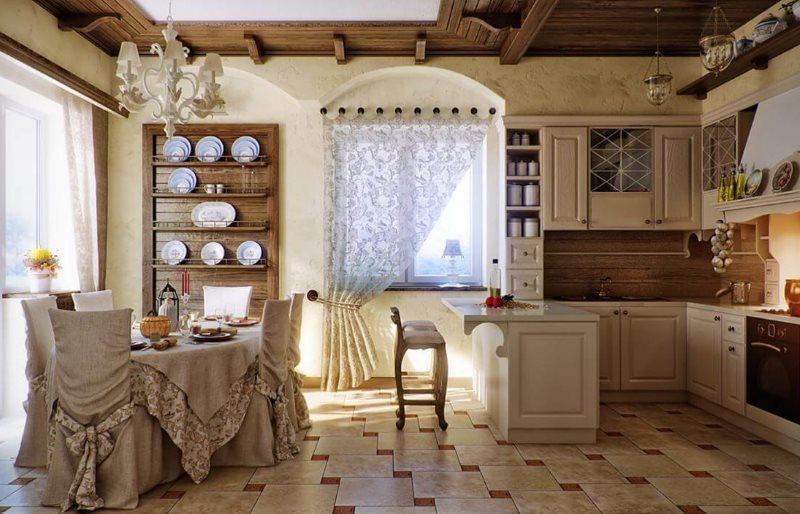 Кухня-гостиная деревенского дома в стиле кантри
