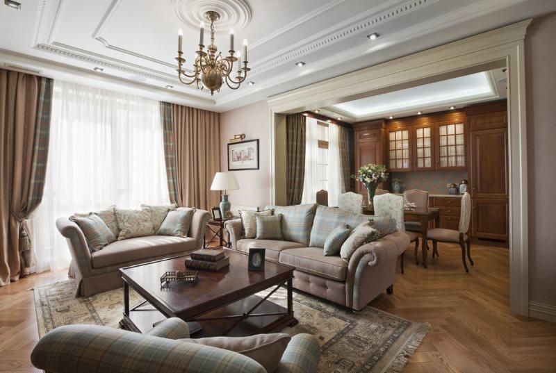 Два дивана в кухне-гостиной классического стиля
