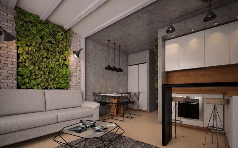 Зеленая стена с живыми растениями в кухне-гостиной