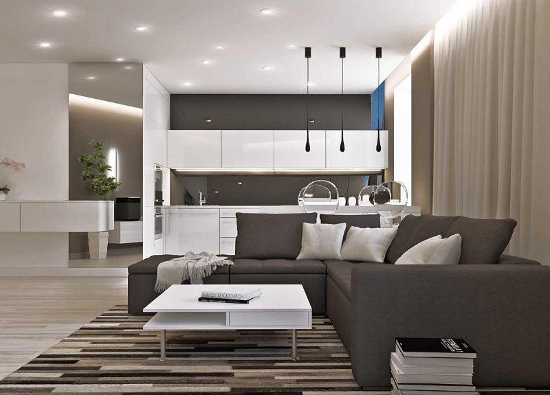 Серый диван в кухне-гостиной стиля минимализма
