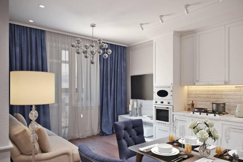 Синие шторы кухне-гостиной неоклассического стиля