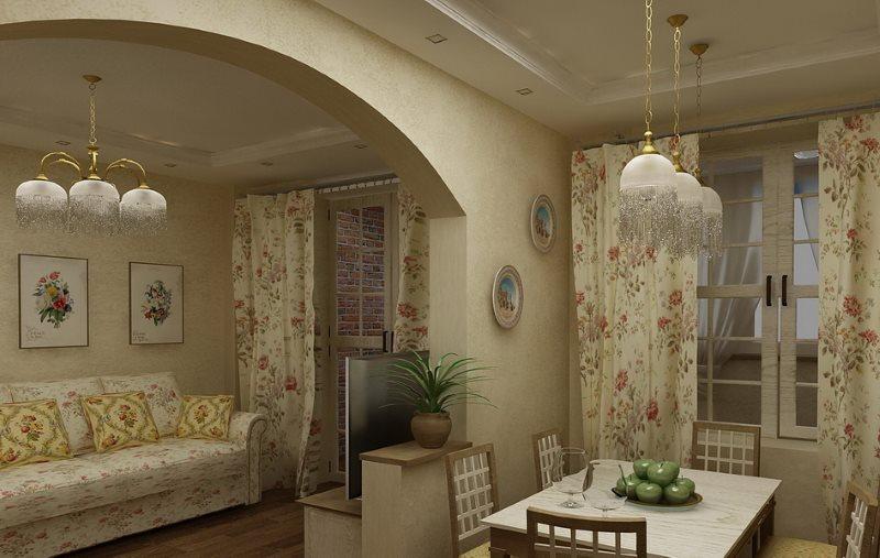 Арка между кухней и гостиной в стиле прованс