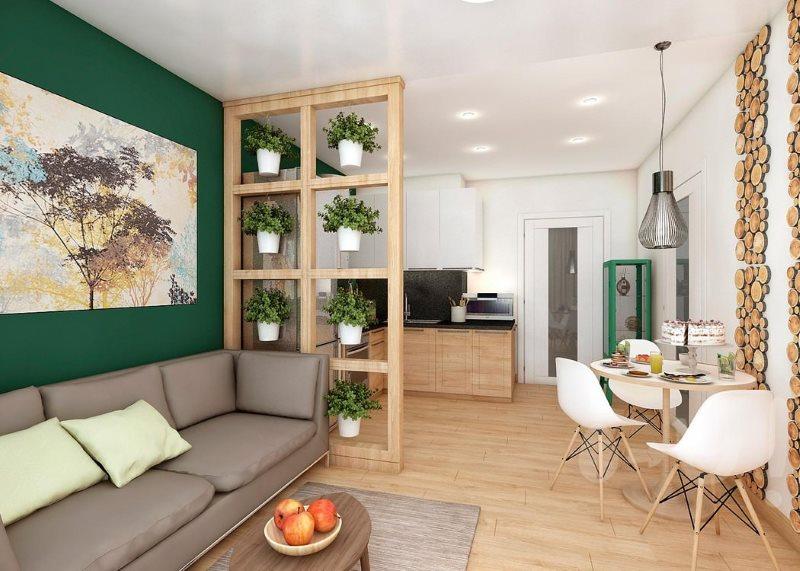 Деревянные спилы на стене кухни-гостиной