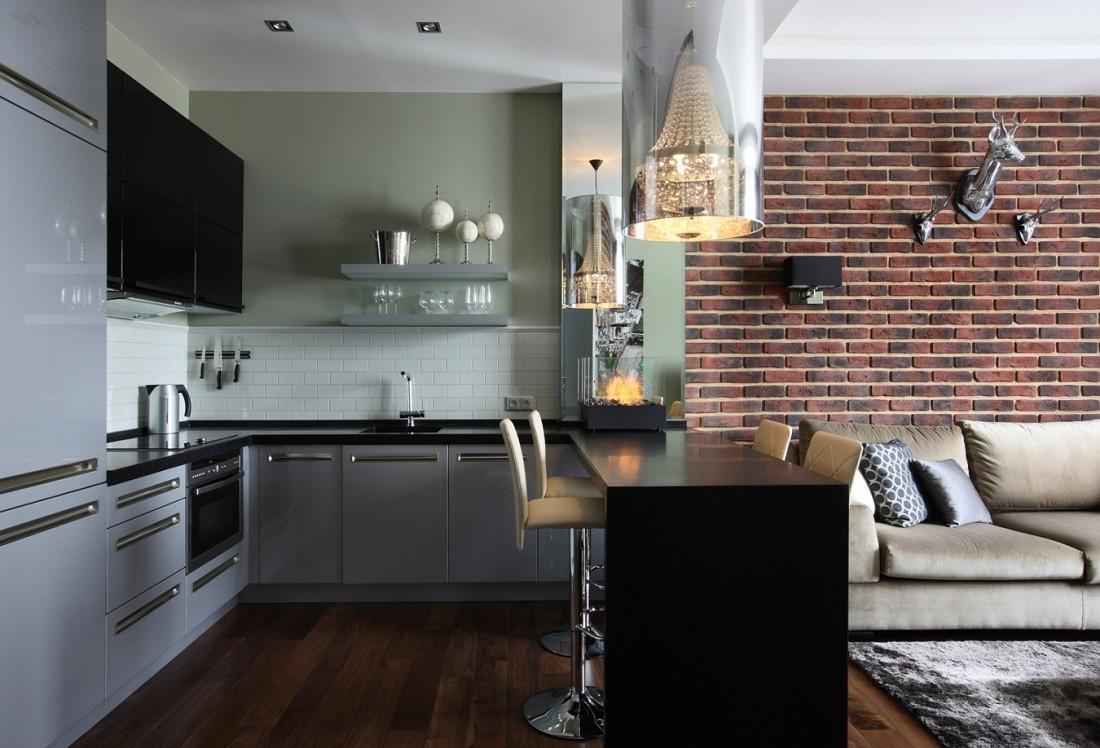 кухня с кирпичной стеной декор