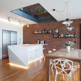 кухня с кирпичной стеной дизайн