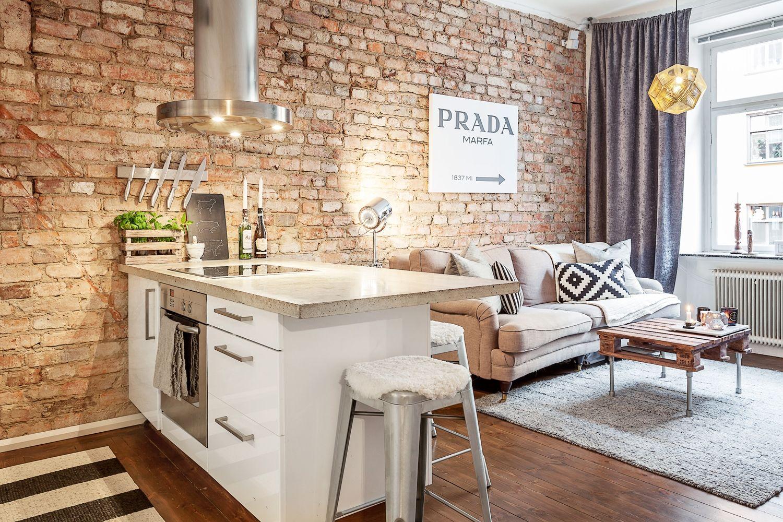 кухня с кирпичной стеной дизайн фото