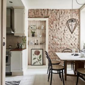 кухня с кирпичной стеной фото дизайна