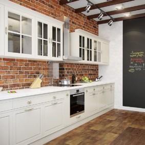 кухня с кирпичной стеной фото идеи