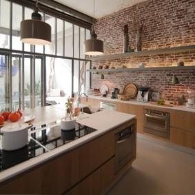 кухня с кирпичной стеной фото интерьера