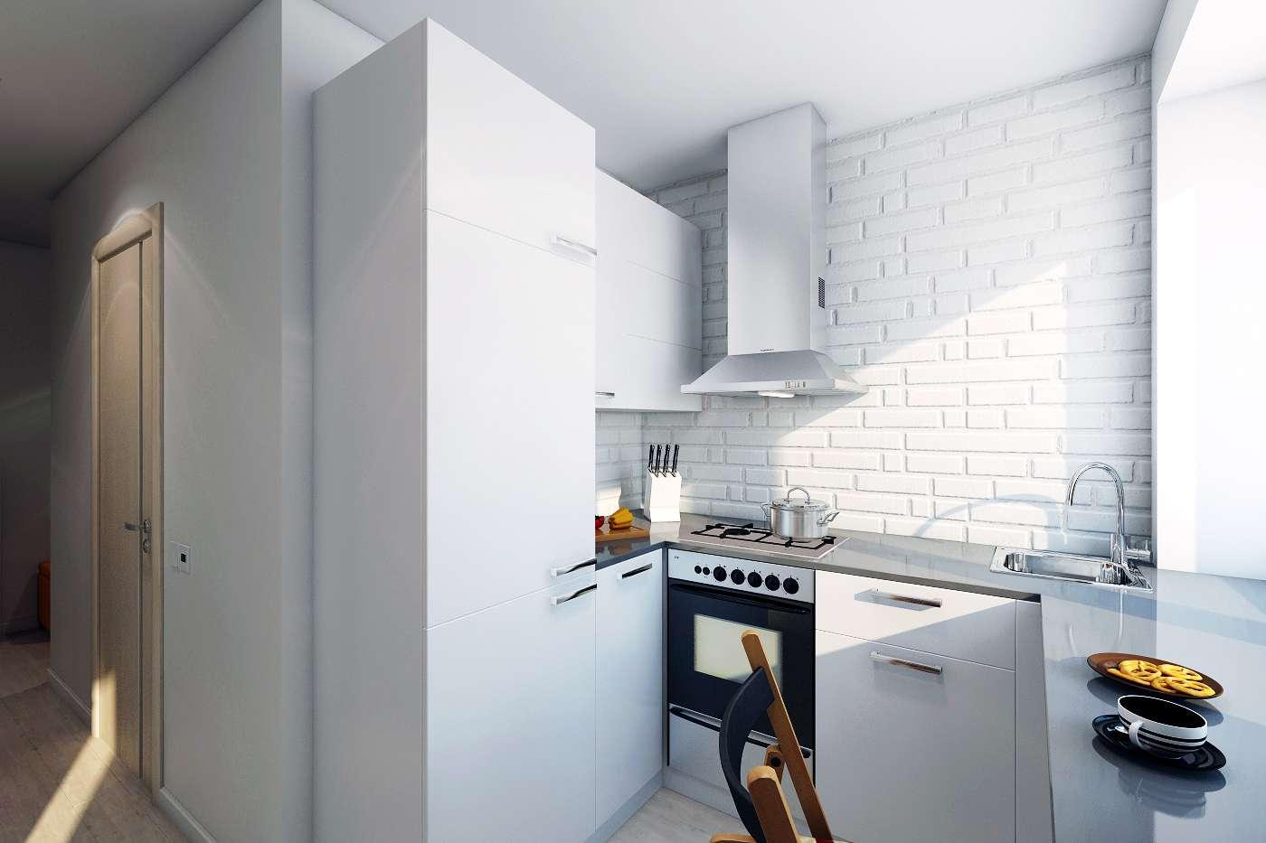 кухня с кирпичной стеной фото обзор