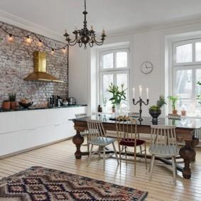 кухня с кирпичной стеной фото оформления