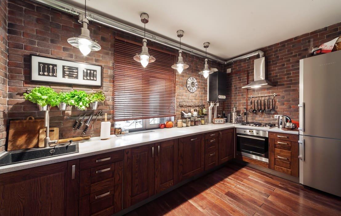 кухня с кирпичной стеной фото вариантов