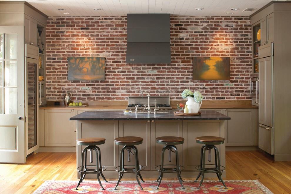 кухня с кирпичной стеной фото видов