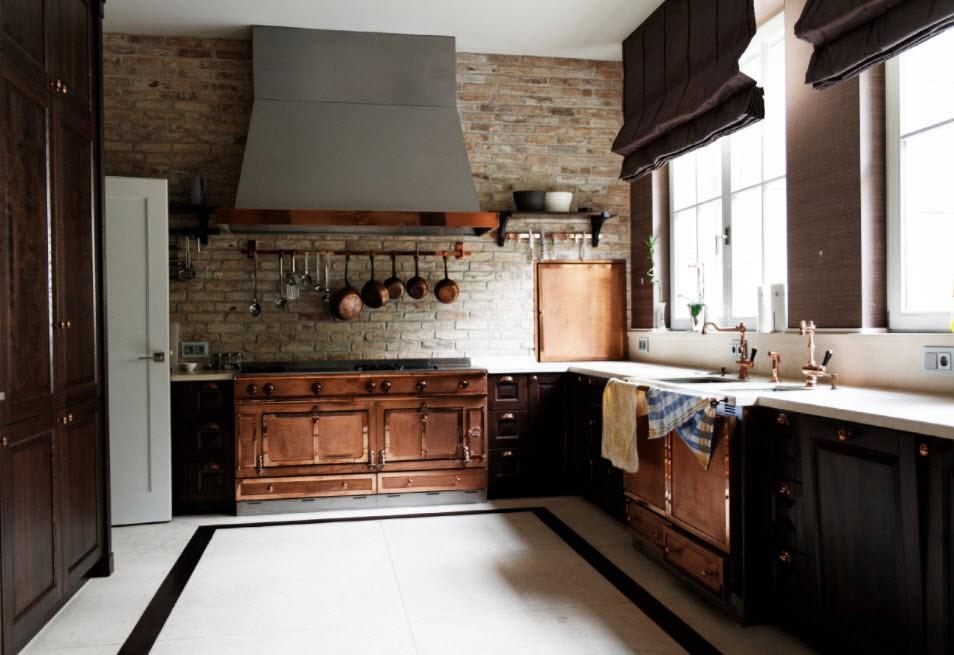 кухня с кирпичной стеной фото виды