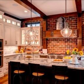 кухня с кирпичной стеной идеи декор