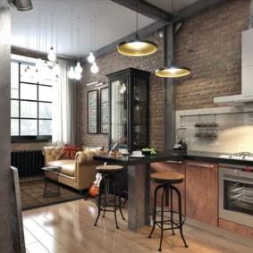 кухня с кирпичной стеной идеи декора