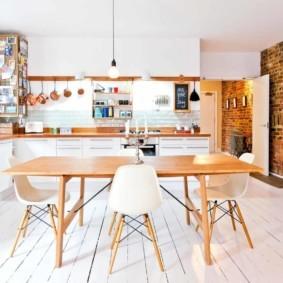 кухня с кирпичной стеной идеи дизайн