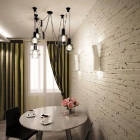 кухня с кирпичной стеной идеи фото