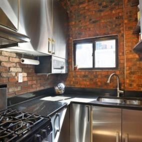 кухня с кирпичной стеной идеи интерьера