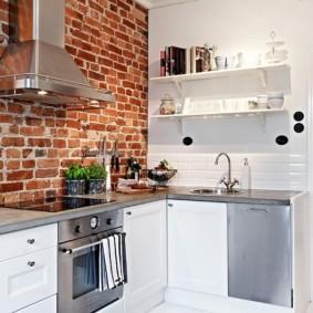 кухня с кирпичной стеной идеи оформления