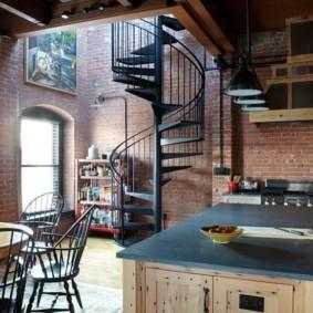 кухня с кирпичной стеной интерьер