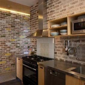 кухня с кирпичной стеной интерьер фото