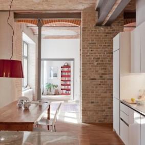 кухня с кирпичной стеной оформление фото