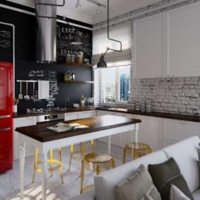 кухня с кирпичной стеной оформление идеи