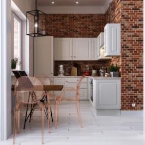 кухня с кирпичной стеной варианты фото