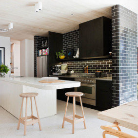 кухня с кирпичной стеной варианты идеи